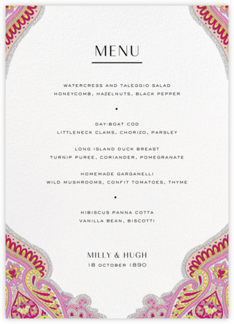 Lord Paisley Lawn (Menu) - Liberty - Liberty London wedding stationery