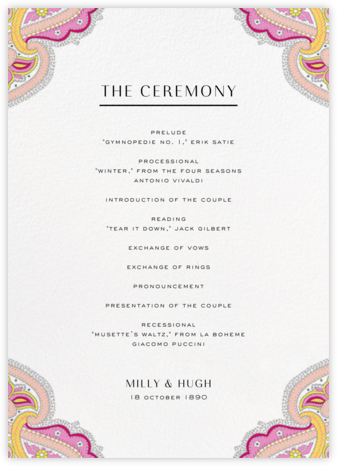 Lord Paisley Lawn (Program) - Liberty - Liberty London wedding stationery
