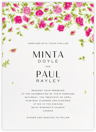 Ricardo's Bloom (Invitation) - Pink - Liberty - Liberty London wedding stationery