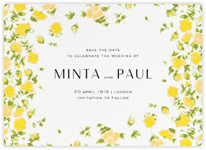 Ricardo's Bloom (Save the Date) - Yellow - Liberty - Liberty London wedding stationery