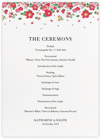 Betsy (Program) - Red - Liberty - Wedding menus and programs - available in paper