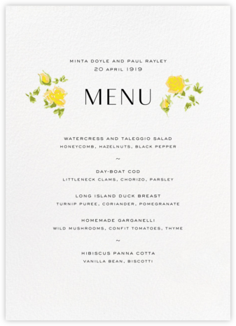 Ricardo's Bloom (Menu) - Yellow - Liberty - Liberty London wedding stationery