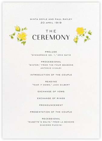 Ricardo's Bloom (Program) - Yellow - Liberty - Liberty London wedding stationery