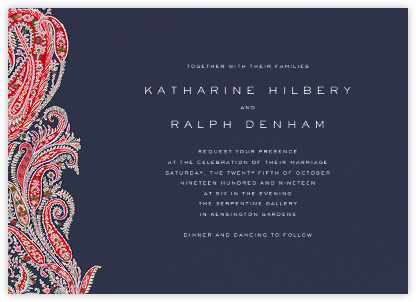 Felix and Isabelle (Invitation) - Red - Liberty - Liberty London Stationery