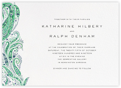Felix and Isabelle (Invitation) - Green - Liberty - Liberty London wedding stationery