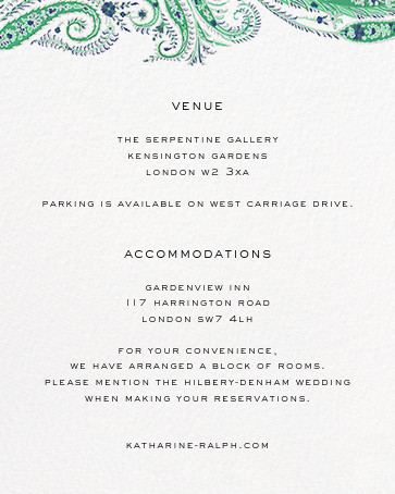 Felix and Isabelle (Invitation) - Green - Liberty - All - insert front
