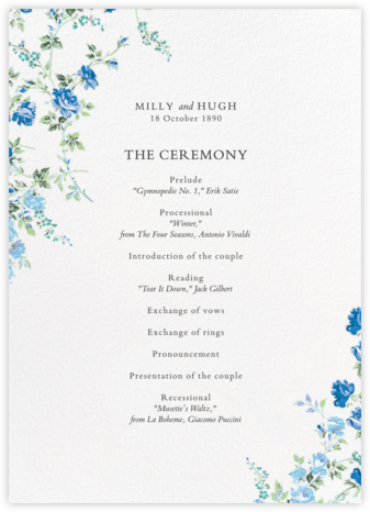 Elizabeth Daylight (Program) - Liberty - Liberty London wedding stationery