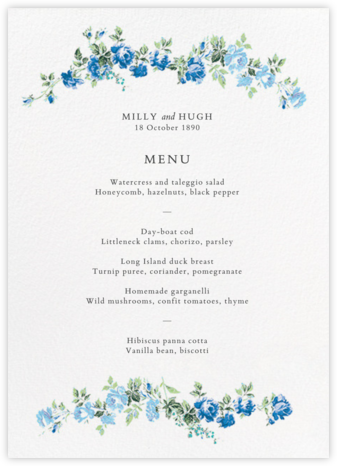 Elizabeth Daylight (Menu) - Liberty - Liberty London wedding stationery