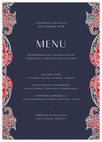 Felix and Isabelle (Menu) - Red  - Liberty - Liberty London Stationery