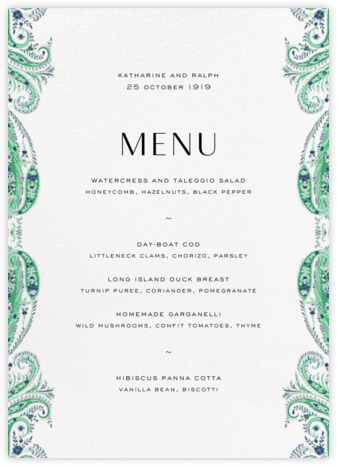 Felix and Isabelle (Menu) - Green - Liberty - Liberty London wedding stationery