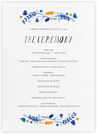 Miss Lila (Program) - Lapis - Mr. Boddington's Studio - Wedding menus and programs - available in paper