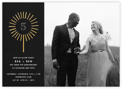 Year of the Sparkler (Photo) - Gold - Paperless Post - Anniversary party invitations