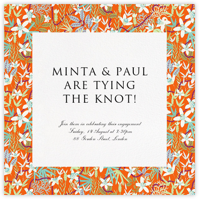 Stanley - Orange - Liberty - Engagement party invitations