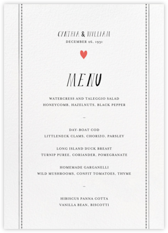 Mr. Waris (Menu) - Mr. Boddington's Studio - Wedding menus and programs - available in paper