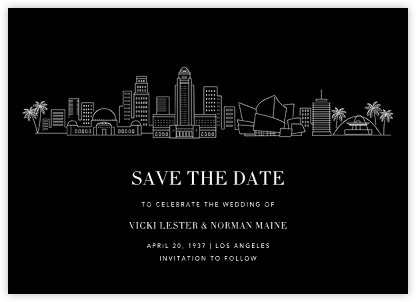 L.A. Skyline View (Save the Date) - Black/White - Paperless Post -