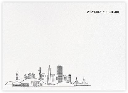 San Francisco Skyline View (Stationery) - White/Black | null