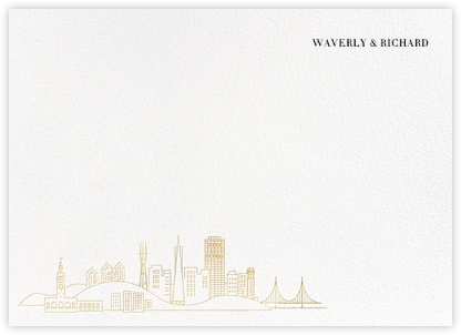 San Francisco Skyline View (Stationery) - White/Gold - Paperless Post -