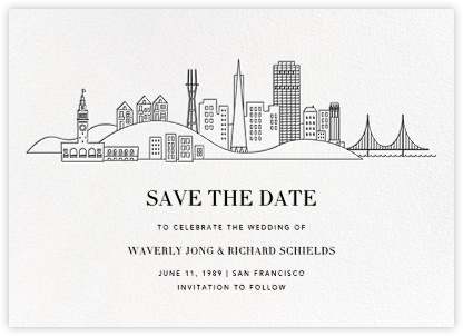 San Francisco Skyline View (Save the Date) - White/Black | null