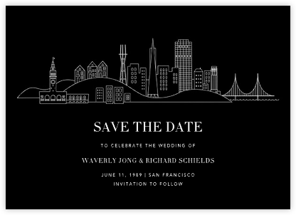 San Francisco Skyline View (Save the Date) - Black/White - Paperless Post - Save the dates