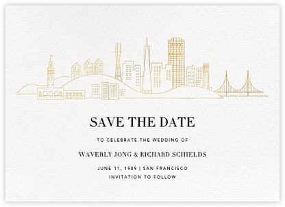 San Francisco Skyline View (Save the Date) - White/Gold - Paperless Post - Save the dates