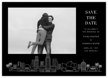 L.A. Skyline View (Photo Save the Date) - Black/White - Paperless Post -