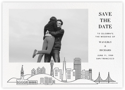 San Francisco Skyline View (Photo Save the Date) - White/Black | null