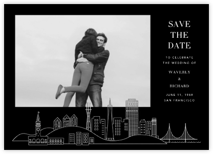 San Francisco Skyline View (Photo Save the Date) - Black/White   null