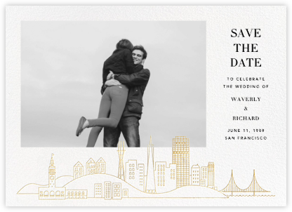 San Francisco Skyline View (Photo Save the Date) - White/Gold | null