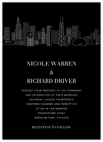 Chicago Skyline View (Invitation) - Black/White   null