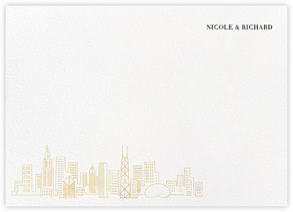 Chicago Skyline View (Stationery) - White/Gold - Paperless Post