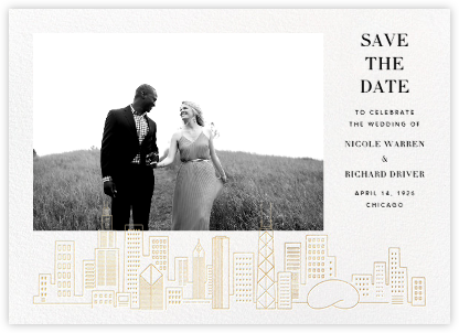 Chicago Skyline View (Photo Save the Date) - White/Gold | null