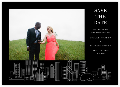Chicago Skyline View (Photo Save the Date) - Black/White - Paperless Post -