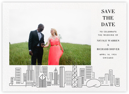 Chicago Skyline View (Photo Save the Date) - White/Black - Paperless Post - Modern save the dates