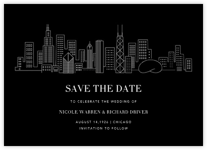 Chicago Skyline View (Save the Date) - Black/White | null