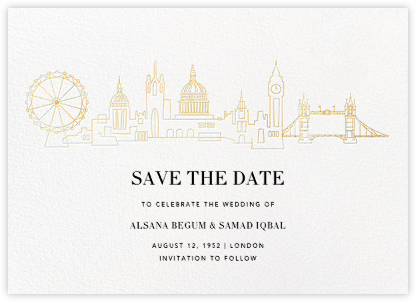 London Skyline View (Save the Date) - Gold/Ivory - Paperless Post - Save the date cards and templates