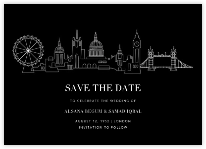 London Skyline View (Save the Date) - Black/White - Paperless Post -
