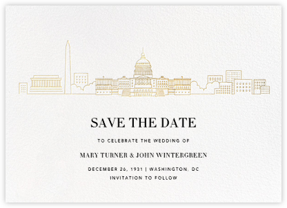 D.C. Skyline View (Save the Date) - White/Gold | null