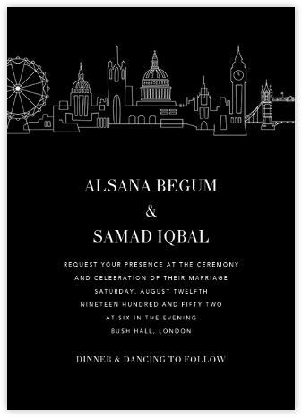 London Skyline View (Invitation) - Black/White   null