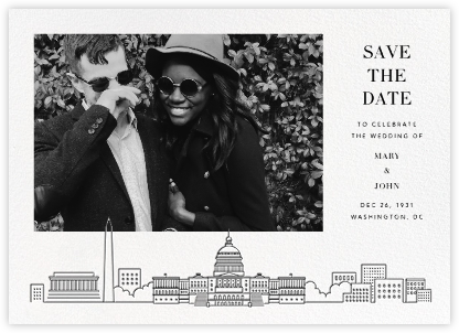 D.C. Skyline View (Photo Save the Date) - White/Black   null