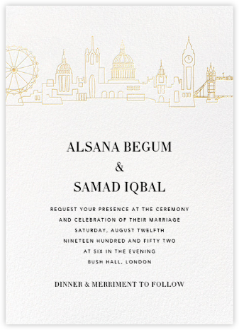 London Skyline View (Invitation) - White/Gold - Paperless Post -