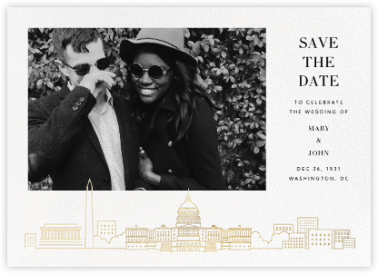 D.C. Skyline View (Photo Save the Date) - White/Gold | null