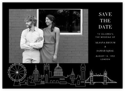 London Skyline View (Photo Save the Date) - Black/White - Paperless Post -