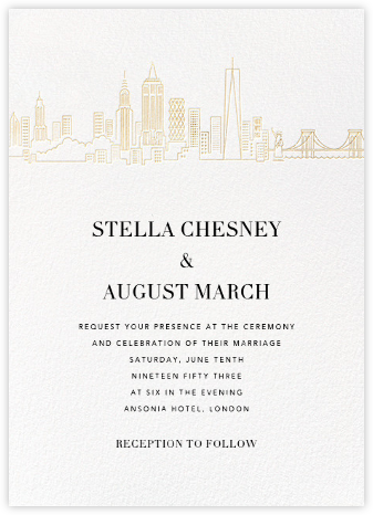 Manhattan Skyline View (Invitation) - White/Gold - Paperless Post - Wedding Invitations