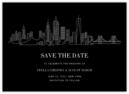 Manhattan Skyline View (Save the Date) - Black/White - Paperless Post - Save the dates