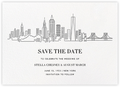 Manhattan Skyline View (Save the Date) - White/Black | null