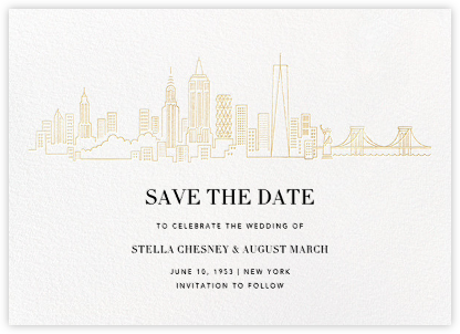 Manhattan Skyline View (Save the Date) - White/Gold - Paperless Post - Destination