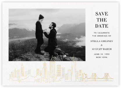 Manhattan Skyline View (Photo Save the Date) - White/Gold - Paperless Post - Photo save the dates