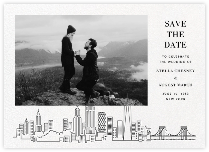 Manhattan Skyline View (Photo Save the Date) - White/Black | null