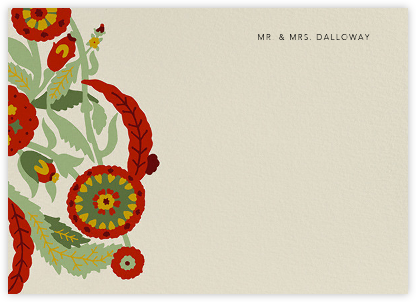 Spanish Garden (Stationery) - Red Plum - Oscar de la Renta - Personalized Stationery