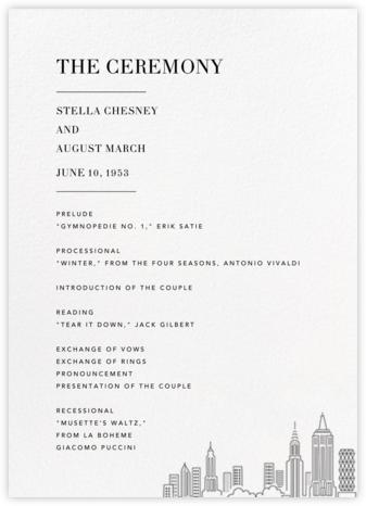 Manhattan Skyline View (Program) - White/Black - Paperless Post - Wedding menus and programs - available in paper